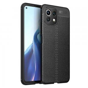 Leather Litchi силиконовый чехол накладка для Xiaomi Mi 11 Lite - Черный