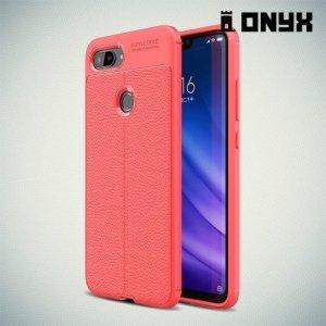 Leather Litchi силиконовый чехол накладка для Xiaomi Mi 8 Lite - Коралловый