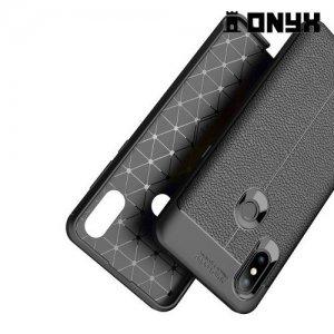 Leather Litchi силиконовый чехол накладка для Xiaomi Mi Mix 3 - Черный