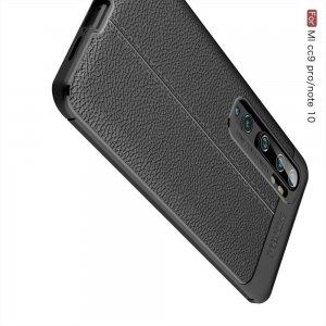 Leather Litchi силиконовый чехол накладка для Xiaomi Mi Note 10 - Черный
