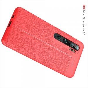 Leather Litchi силиконовый чехол накладка для Xiaomi Mi Note 10 - Красный