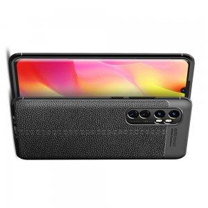 Leather Litchi силиконовый чехол накладка для Xiaomi Mi Note 10 Lite - Черный