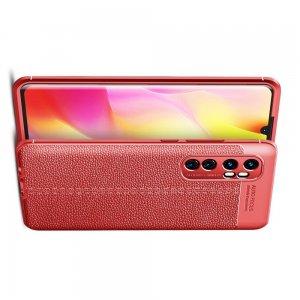 Leather Litchi силиконовый чехол накладка для Xiaomi Mi Note 10 Lite - Красный