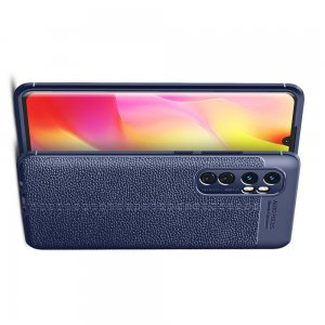 Leather Litchi силиконовый чехол накладка для Xiaomi Mi Note 10 Lite - Синий