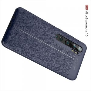 Leather Litchi силиконовый чехол накладка для Xiaomi Mi Note 10 - Синий