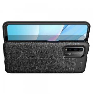 Leather Litchi силиконовый чехол накладка для Xiaomi Poco M3 - Черный