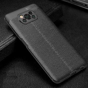 Leather Litchi силиконовый чехол накладка для Xiaomi Poco X3 NFC - Синий