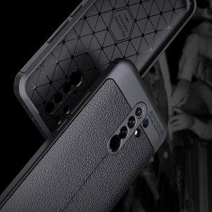Leather Litchi силиконовый чехол накладка для Xiaomi Redmi 9 - Черный