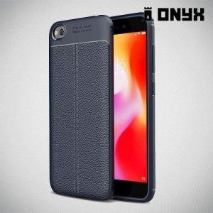 Leather Litchi силиконовый чехол накладка для Xiaomi Redmi Go - Синий