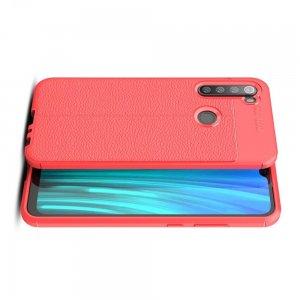 Leather Litchi силиконовый чехол накладка для Xiaomi Redmi Note 8 - Красный