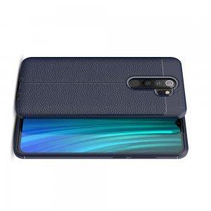Leather Litchi силиконовый чехол накладка для Xiaomi Redmi Note 8 Pro - Синий