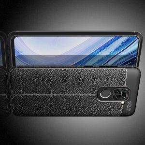 Leather Litchi силиконовый чехол накладка для Xiaomi Redmi Note 9 - Черный