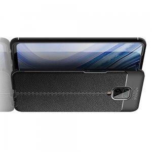 Leather Litchi силиконовый чехол накладка для Xiaomi Redmi Note 9 Pro (9S,9 Pro Max) / Pro Max) - Черный
