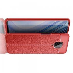 Leather Litchi силиконовый чехол накладка для Xiaomi Redmi Note 9 Pro (9S,9 Pro Max) / Pro Max) - Красный