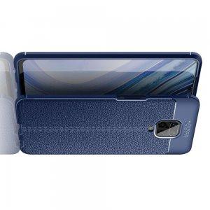 Leather Litchi силиконовый чехол накладка для Xiaomi Redmi Note 9 Pro (9S,9 Pro Max) / Pro Max) - Синий