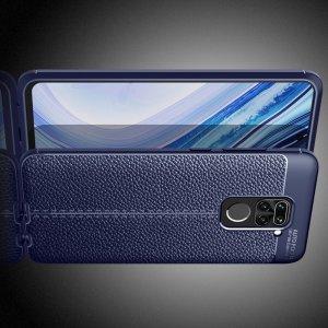 Leather Litchi силиконовый чехол накладка для Xiaomi Redmi Note 9 Pro (9S,9 Pro Max) - Синий