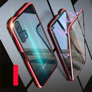 Магнитный Стеклянный Чехол с Металлическим Бампером для Huawei Honor 20 Pro Красный