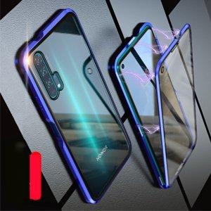 Магнитный Стеклянный Чехол с Металлическим Бампером для Huawei Honor 20 Pro Синий
