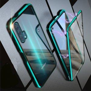 Магнитный Стеклянный Чехол с Металлическим Бампером для Huawei Honor 20 Pro Зеленый