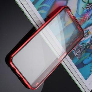 Магнитный Стеклянный Чехол с Металлическим Бампером для Huawei Honor 9X / 9X Premium Красный
