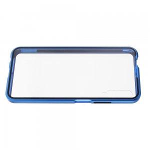 Магнитный Стеклянный Чехол с Металлическим Бампером для Huawei Honor 9X / 9X Pro Синий