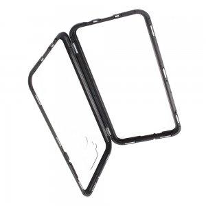 Магнитный Стеклянный Чехол с Металлическим Бампером для Huawei Mate 30 Lite Черный