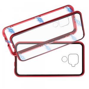 Магнитный Стеклянный Чехол с Металлическим Бампером для Huawei Mate 30 Lite Красный