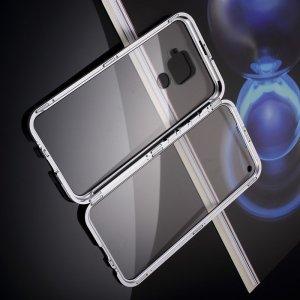 Магнитный Стеклянный Чехол с Металлическим Бампером для Huawei Mate 30 Lite Серебряный