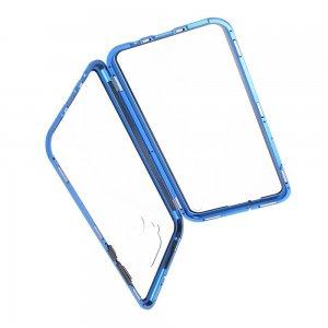 Магнитный Стеклянный Чехол с Металлическим Бампером для Huawei Mate 30 Lite Синий