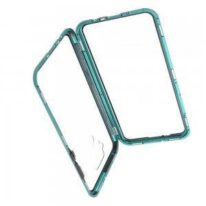 Магнитный Стеклянный Чехол с Металлическим Бампером для Huawei Mate 30 Lite Зеленый