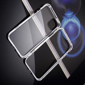 Магнитный Стеклянный Чехол с Металлическим Бампером для iPhone 11 Pro Белый