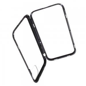 Магнитный Стеклянный Чехол с Металлическим Бампером для iPhone 11 Pro Черный
