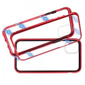 Магнитный Стеклянный Чехол с Металлическим Бампером для iPhone 11 Pro Max Красный