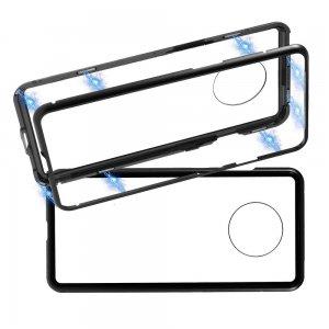 Магнитный Стеклянный Чехол с Металлическим Бампером для OnePlus 7T Черный