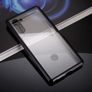 Магнитный Стеклянный Чехол с Металлическим Бампером для Samsung Galaxy Note 10 Черный