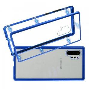 Магнитный Стеклянный Чехол с Металлическим Бампером для Samsung Galaxy Note 10 Plus / 10+ Синий