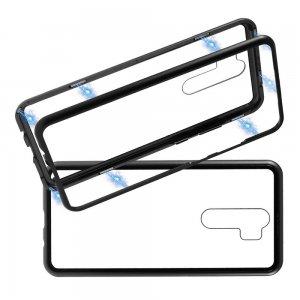 Магнитный Стеклянный Чехол с Металлическим Бампером для Xiaomi Redmi Note 8 Pro Черный