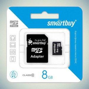 Карта памяти microSDHC SmartBuy 8Gb Class 10