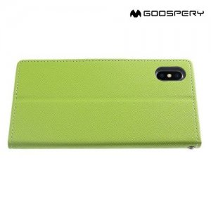 Mercury Goospery Горизонтальный чехол книжка для iPhone Xs Max - Зеленый