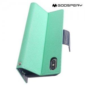 Mercury Goospery Горизонтальный чехол книжка для iPhone Xs Max - Голубой