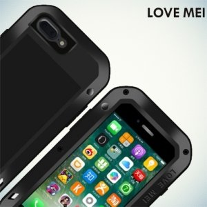 Металлический противоударный чехол LOVE MEI со стеклом для iPhone 7 Plus
