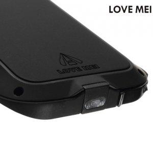 Металлический противоударный чехол LOVE MEI со стеклом Gorilla Glass для iPhone SE