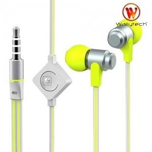 Наушники гарнитура с микрофоном Wallytech WHF-116 Бело зеленые
