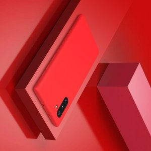 NILLKIN Rubberized Мягкий силиконовый чехол для Samsung Galaxy Note 10 с микрофибровой подкладкой красный