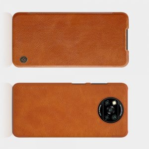 NILLKIN Qin чехол флип кейс для Xiaomi Poco X3 NFC - Коричневый