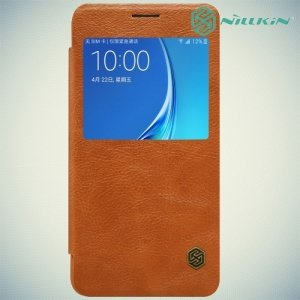Nillkin Qin Series чехол книжка для Samsung Galaxy J7 2016 SM-J710F - Коричневый