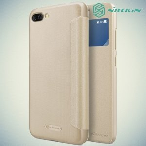 Nillkin с окном чехол книжка для ASUS ZenFone 4 Max ZC554KL - Sparkle Case Золотой