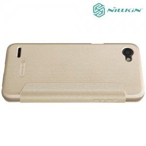Nillkin с умным окном чехол книжка для LG Q6 M700AN / Q6a M700 - Sparkle Case Золотой