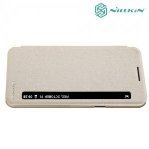 Nillkin с умным окном чехол книжка для LG X Power K220DS - Sparkle Case Золотой