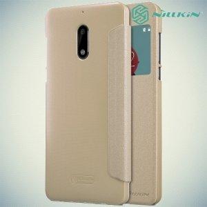 Nillkin с окном чехол книжка для Nokia 6 - Sparkle Case Золотой
